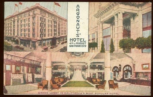 ARGONAUT'S HOTEL, SAN FRANCISCO, CALIFORNIA, Postcard