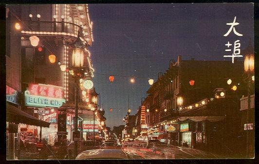 CHINATOWN AT NIGHT, SAN FRANCISCO, CALIFORNIA, Postcard