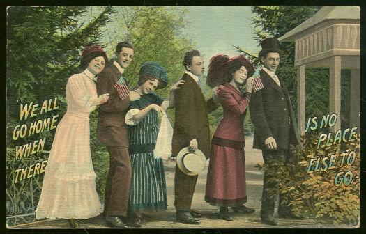 Image for POSTCARD OF TRAVELING GROUP OF VICTORIAN MEN AND WOMEN