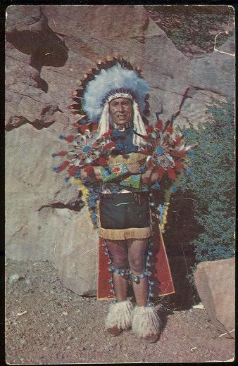 NORTH AMERICAN INDIAN CHIEF IN FULL DRESS, Postcard