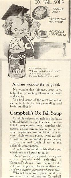 1916 LADIES HOME JOURNAL CAMPBELL'S OX TAIL SOUP MAGAZINE ADVERTISEMENT, Advertisement