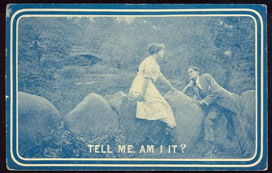 COURTING COUPLE ALONG RIVER BANK, Postcard