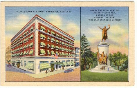 FRANCES SCOTT KEY HOTEL AND GRAVE AND MONUMENT, FREDERICK, MARYLAND, Postcard