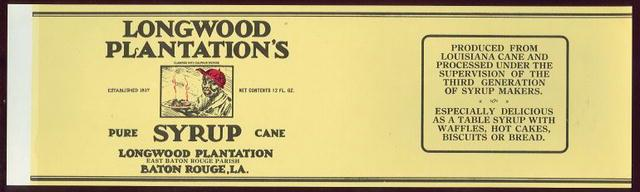 CAN LABEL FOR LONGWOOD PLANTATION'S PRUE CANE SYRUP, Advertisement