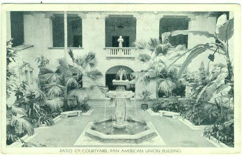 PATIO OR COURTYARD, PAN AMERICAN UNION BUILDING, WASHINGTON DC, Postcard
