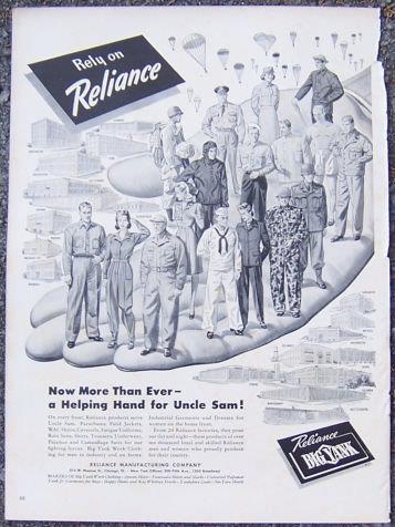 Image for 1944 WORLD WAR II RELIANCE CLOTHING MAGAZINE ADVERTISEMENT