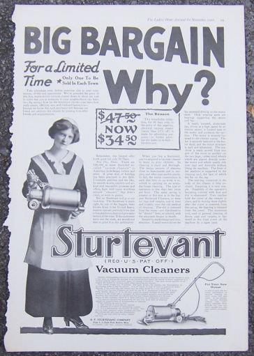 1916 LADIES HOME JOURNAL ADVERTISEMENT FOR STURTEVANT VACUUM CLEANERS, Advertisement