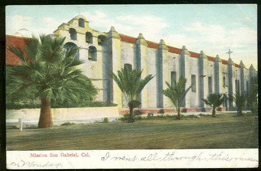 MISSION, SAN GABRIEL, CALIFORNIA, Postcard