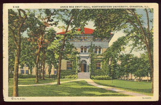 ANNIE MAE SWIFT HALL, NORTHWESTERN UNIVERSITY, EVANSTON, ILLINOIS, Postcard