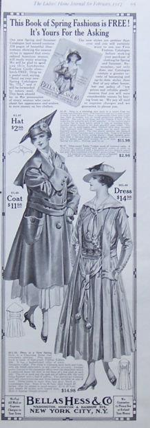 Image for 1917 LADIES HOME JOURNAL BELLAS HESS & CO. MAGAZINE ADVERTISEMENT
