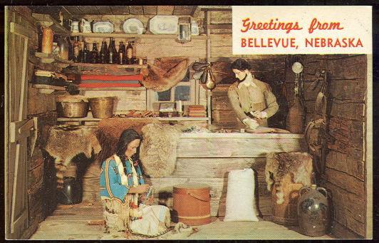 GREETINGS POSTCARD FUR TRADING POST BELLEVUE, NEBRASKA, Postcard