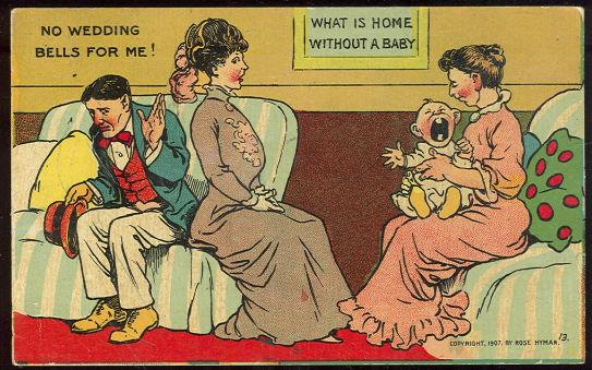 COMIC CARD OF VICTORIAN COUPLE NO WEDDING BELLS, Postcard