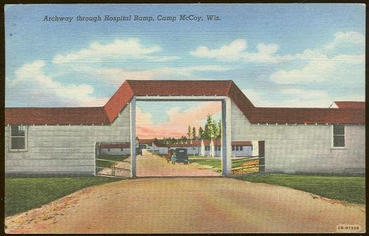 ARCHWAY THROUGH HOSPITAL RAMP, CAMP MCCOY, WISCONSIN, Postcard