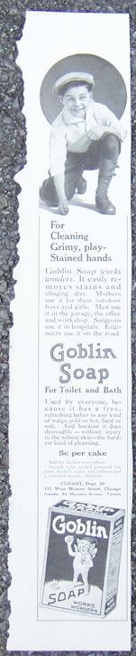 1916 LADIES HOME JOURNAL GOBLIN SOAP MAGAZINE ADVERTISEMENT, Advertisement