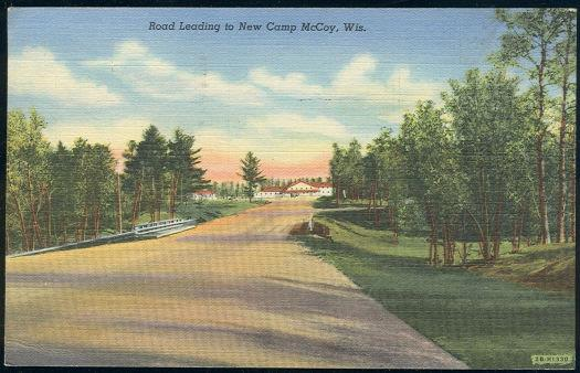 ROAD LEADING TO NEW CAMP MCCOY, WISCONSIN, Postcard