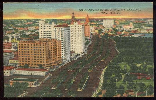POSTCARD - Skyscraper Hotels on Biscayne Boulevard in Miami, Florida