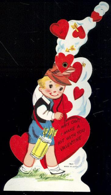 Image for VINTAGE VALENTINE CARD LITTLE BOY WITH BOW AND ARROWS
