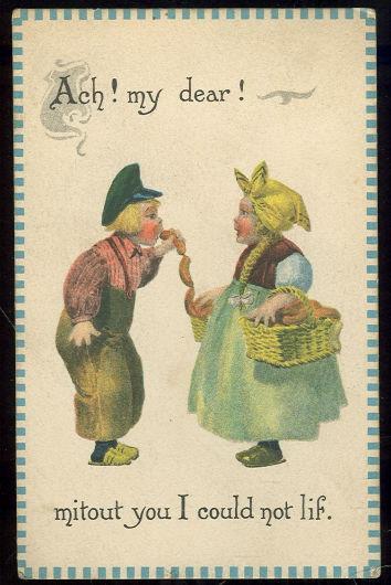 DUTCH COUPLE, ACH MY DEAR MITOUT YOU I COULD NOT LIF, Postcard
