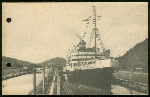 S. S. VIRGINIA, PANAMA PACIFIC LINE, PASSING THROUGH PANAMA CANAL, Postcard