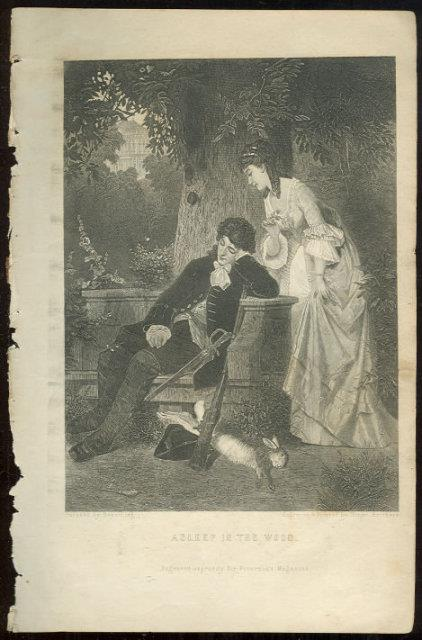 ASLEEP IN THE WOOD FROM 1876 PETERSON'S MAGAZINE, Print