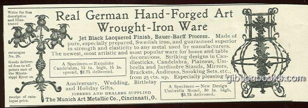 Image for 1901 LADIES HOME JOURNAL REAL GERMAN HAND-FORGED ART WROUGHT-IRON WARE MAGAZINE ADVERTISEMENT