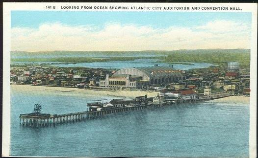 LOOKING FROM OCEAN SHOWING ATLANTIC CITY AUDITORIUM AND CONVENTION HALL, Postcard