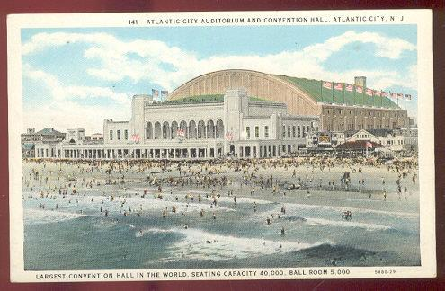ATLANTIC CITY AUDITORIUM AND CONVENTION HALL, ATLANTIC CITY, NEW JERSEY, Postcard