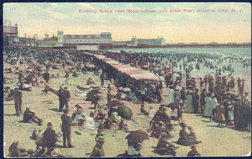 Image for BATHING SCENE NEAR STEEPLECHASE AND STEEL PIER, ATLANTIC CITY, NEW JERSEY