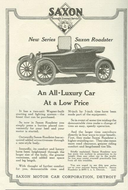 1917 LADIES HOME JOURNAL SAXON ROADSTER MAGAZINE ADVERTISEMENT, Advertisement