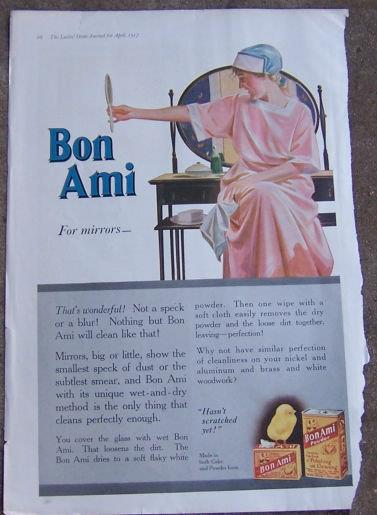 1916 LADIES HOME JOURNAL BON AMI FOR MIRRORS MAGAZINE ADVERTISEMENT, Advertisement