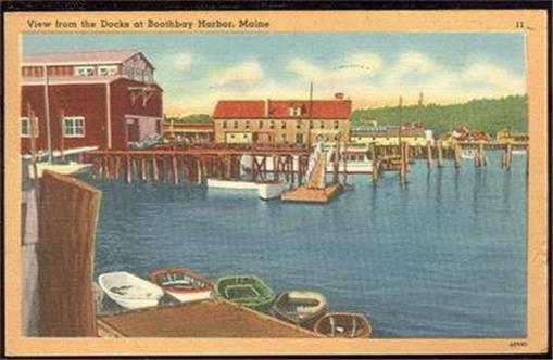 VIEW FROM THE DOCKS AT BOOTHBAY, MAINE, Postcard
