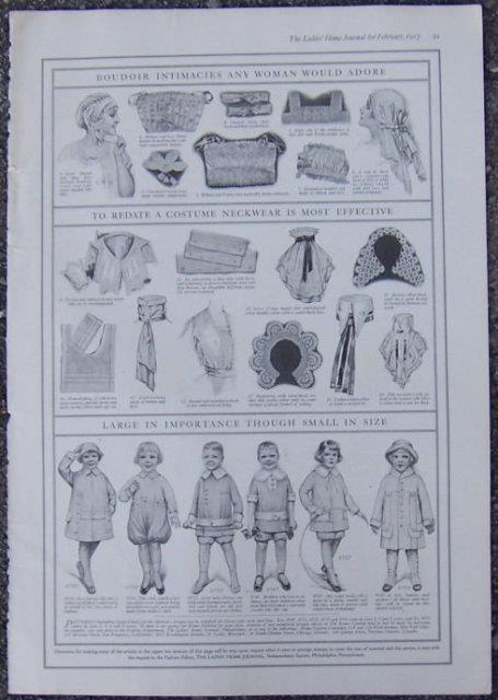 Image for 1917 LADIES HOME JOURNAL BOUDOIR INTIMACIES, NEW NECKWARE AND CHILDREN'S CLOTHES TO SEW