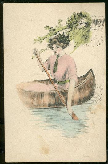 Image for LOVELY VICTORIAN LADY PADDLING A CANOE