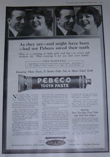 Image for 1916 LADIES HOME JOURNAL PEBECO TOOTHPASTE MAGAZINE ADVERTISEMENT