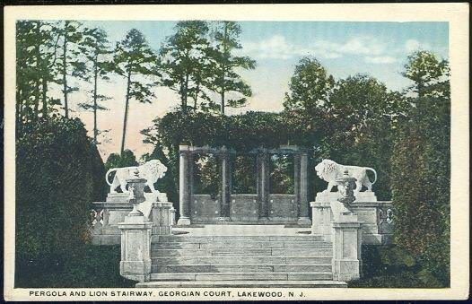 PERGOLA AND LION STAIRWAY, GEORGIAN COURT, LAKEWOOD, NEW JERSEY, Postcard
