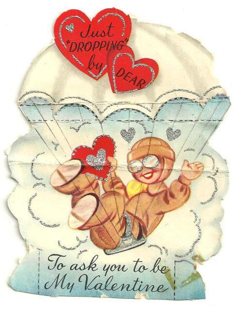 VINTAGE VALENTINE OF PARACHUTING BOY TRIMMED IN SILVER GLITTER, Valentine