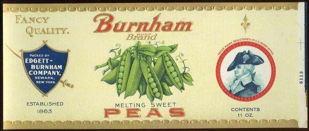 BURNHAM BRAND MELTING SWEET PEAS CAN LABEL, Advertisement