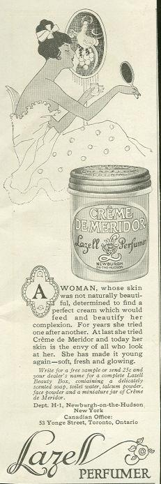 1917 LADIES HOME JOURNAL LAZELL PEFUMER CREME DE MERIDOR ADVERTISEMENT, Advertisement