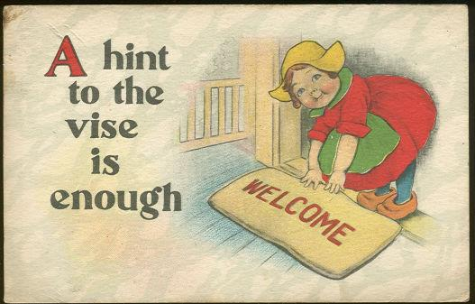 LITTLE DUTCH GIRL LAYING OUT THE WELCOME MAT, Postcard