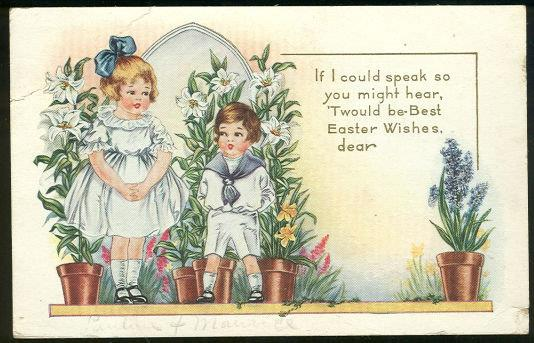 Image for EASTER POSTCARD WITH TWO CUTE KIDS WITH EASTER WISHES