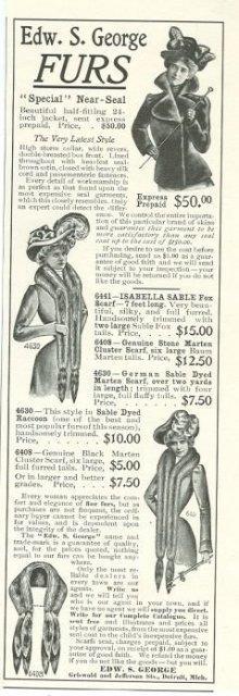 1901 LADIES HOME JOURNAL EDWARD S. GEORGE FURS MAGAZINE ADVERTISEMENT, Advertisement
