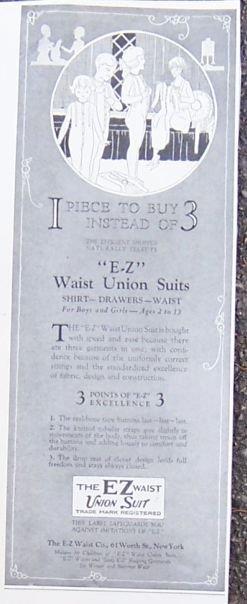 Image for 1921 LADIES HOME JOURNAL EZ WAIST UNION SUITS FOR CHILDREN MAGAZINE ADVERTISEMENT