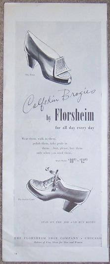 Image for 1944 CALFSKIN BROGIES FLORSHEIM MAGAZINE ADVERTISEMENT