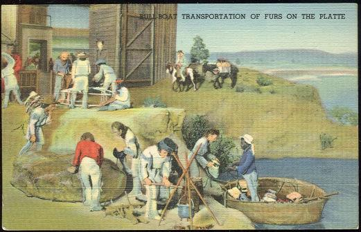 DIORAMA AT STATE MUSEUM, E. 14TH AND SHERMAN STREET, DENVER, COLORADO. BULL-BOAT TRANSPORTATION OF FURS ON THE PLATTE, Postcard