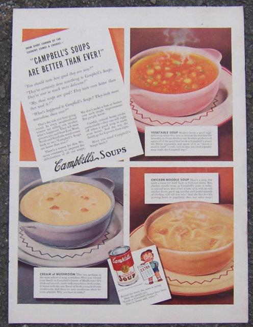 1941 CAMPBELL'S SOUPS MAGAZINE ADVERTISEMENT, Advertisement