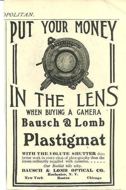 1904 COSMOPOLITAN MAGAZINE AD FOR BAUSCH AND LOMB CAMERA LENS, Advertisement