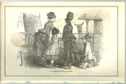 CHILDREN'S FASHIONS FOR MARCH 1876 PETERSON'S MAGAZINE, Print