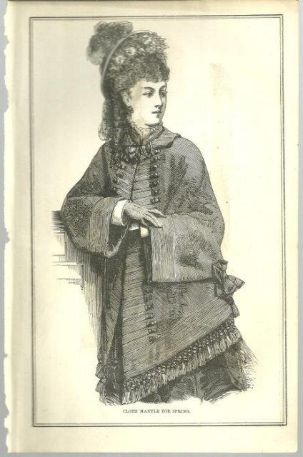 CLOTH MANTLE FOR SPRING 1876 PETERSON'S MAGAZINE, Print