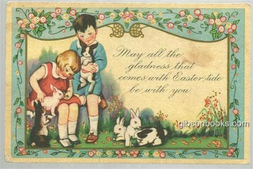 Image for EASTER GREETINGS CARD WITH TWO CHILDREN PLAYING WITH BUNNIES