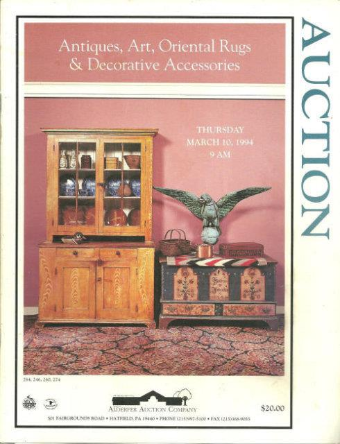 ANTIQUES, ART, ORIENTAL RUGS AND DECORATIVE ACESSORIES Thursday March 10, 1994, Alderfer Auction Company